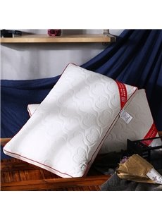 Pure White Heart-shaped Pattern Cotton Polyester Filler Bed Pillow