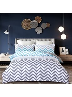 Simple V Shape Pattern Printing Grey 4-Piece Polyester Bedding Sets/Duvet Cover