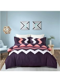 White and Pink Zigzag Pattern Printing 4-Piece Polyester Bedding Sets/Duvet Cover