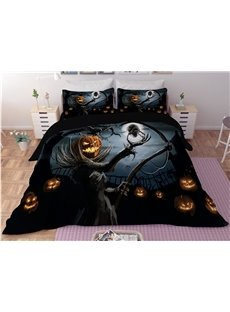 Pumpkin Head Skeleton Digital Printing 3D Polyester 4-Piece Bedding Sets/Duvet Covers
