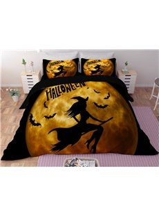 Witches Flying on Broomsticks Orange Printing 3D Polyester 4-Piece Bedding Sets/Duvet Covers