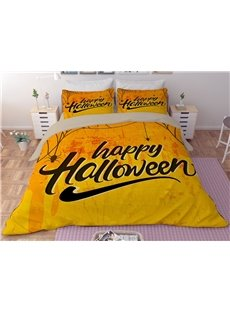 Happy Halloween Yellow Digital Printing Polyester 3-Piece 3D Bedding Sets/Duvet Covers