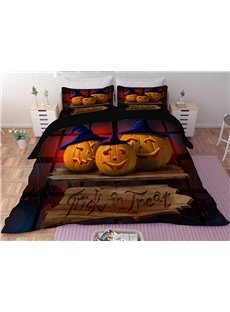Pumpkin Smiley Face Halloween Digital Printing 3D Polyester 4-Piece Bedding Sets/Duvet Covers