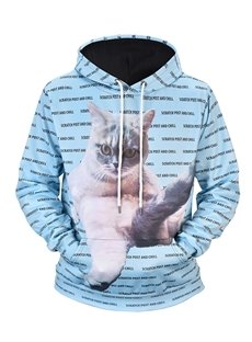 Cool Cat Graphic Lightweight Vibrant Color 3D Painted Hoodie