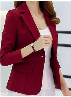 Notched Lapel One Button Slim Model Plain Pattern Long Sleeve Coat