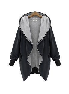Casual Style Hooded Loose Model Zipper Long Sleeve Coat