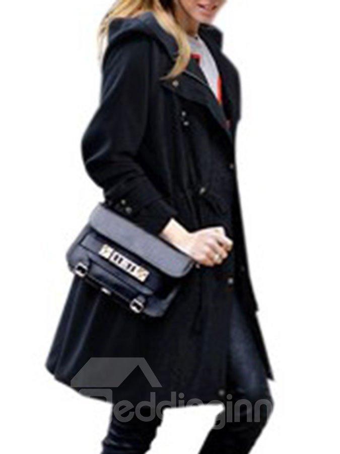 Hooded Zipper Casual Style Long Sleeve Plain Pattern Loose Model Dust Coat