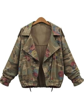 Camouflage Loose Model Lapel Neutral Style Print Zipper Jacket