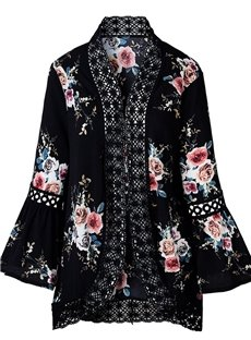 Flare Sleeve Print Floral Thin Polyester Cardigan Lace Coat