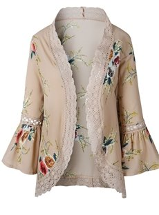 Cardigan Lace Flare Sleeve Floral Pattern Thin Coat