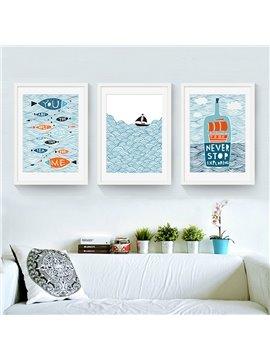 Nordic Style Funny Fish Pattern 3 Size Glass Waterproof Wall Prints