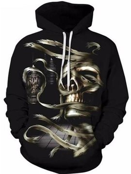 Pullover Polyester Unisex Halloween Realistic 3D Painted Hoodie