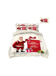 Santa Claus and Red Presents Printing Polyester 4-Piece 3D Christmas Bedding Sets/Duvet Covers
