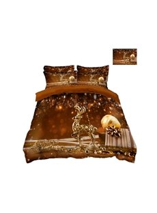 Golden Reindeer and Ornaments Printing Polyester 4-Piece 3D Christmas Bedding Sets/Duvet Covers