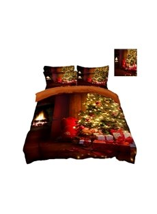Christmas Tree and Present Printing Polyester 4-Piece 3D Bedding Sets/Duvet Covers
