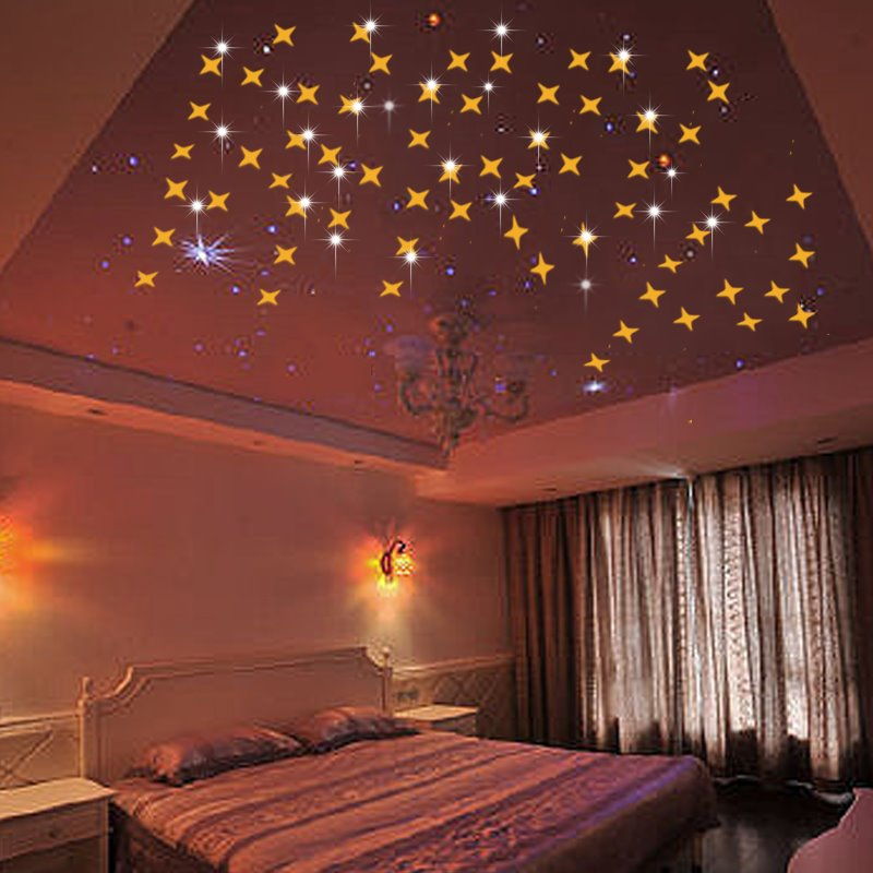 5*5cm 50 Pieces Little Star Shape 3d Mirror Tv And Sofa Background Wall Stickers