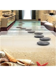 3D PVC Sea And Stone Non-slip Waterproof Eco-friendly Self-Adhesive Floor Mural