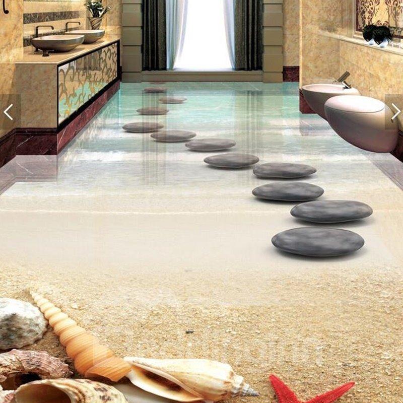 PVC 3D Beach And Stone Non-slip Waterproof Eco-friendly Self-Adhesive Floor Murals