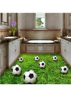 Creative Football And Grass PVC Non-slip Waterproof Eco-friendly Self-Adhesive Floor Murals
