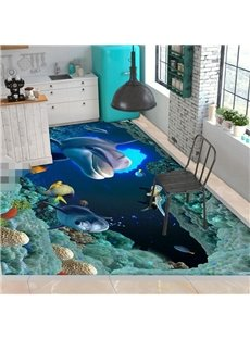 PVC Non-slip 3D Creative Dolphin And Fish Waterproof Eco-friendly Self-Adhesive Floor Murals