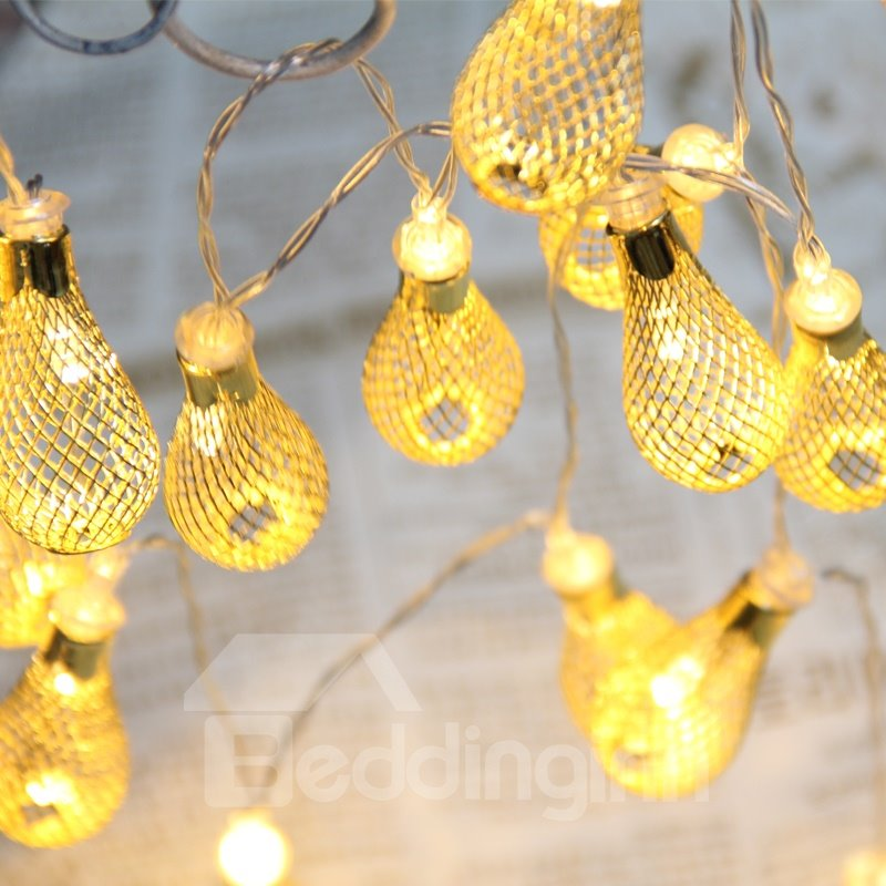 Water Drip Pattern Iron Wedding Holiday Decoration LED Lights