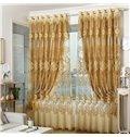 Exquisite Elegant Golden Embroidery Grommet Top Curtains