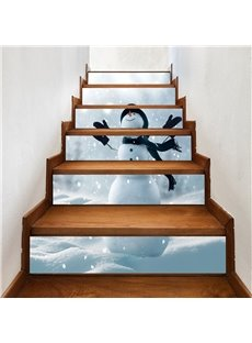Snow Man 6-Piece Waterproof Eco-friendly Self-Adhesive Stair Mural