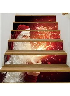 Classic Father Christmas Pattern 6-Piece Waterproof Eco-friendly Self-Adhesive Stair Mural