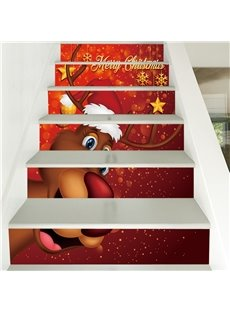 3D Elk With Christmas Hat 6-Piece PVC Waterproof Eco-friendly Self-Adhesive Stair Mural