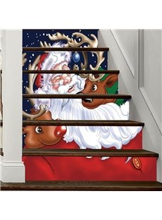 Father Christmas With Two Elk 3D 6-Piece PVC Waterproof Eco-friendly Self-Adhesive Stair Mural