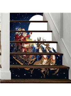 Father Christmas With Gifts 3D 6-Piece PVC Waterproof Eco-friendly Self-Adhesive Stair Mural