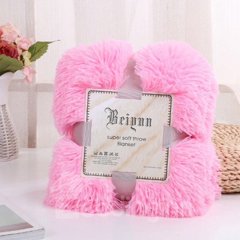 Princess Style Solid Pink Fluffy and Warm Double Layer Blanket