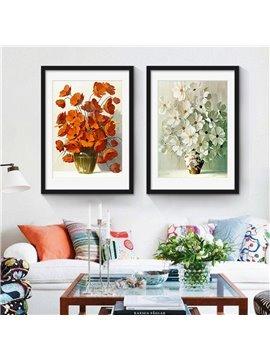 Retro Style Flower Pattern 2 Size Glass Waterproof Wall Prints