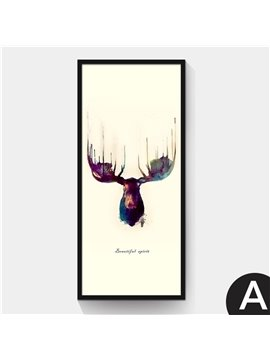 Simple Design Abstract Elk Pattern 2 Size Glass Waterproof Wall Prints