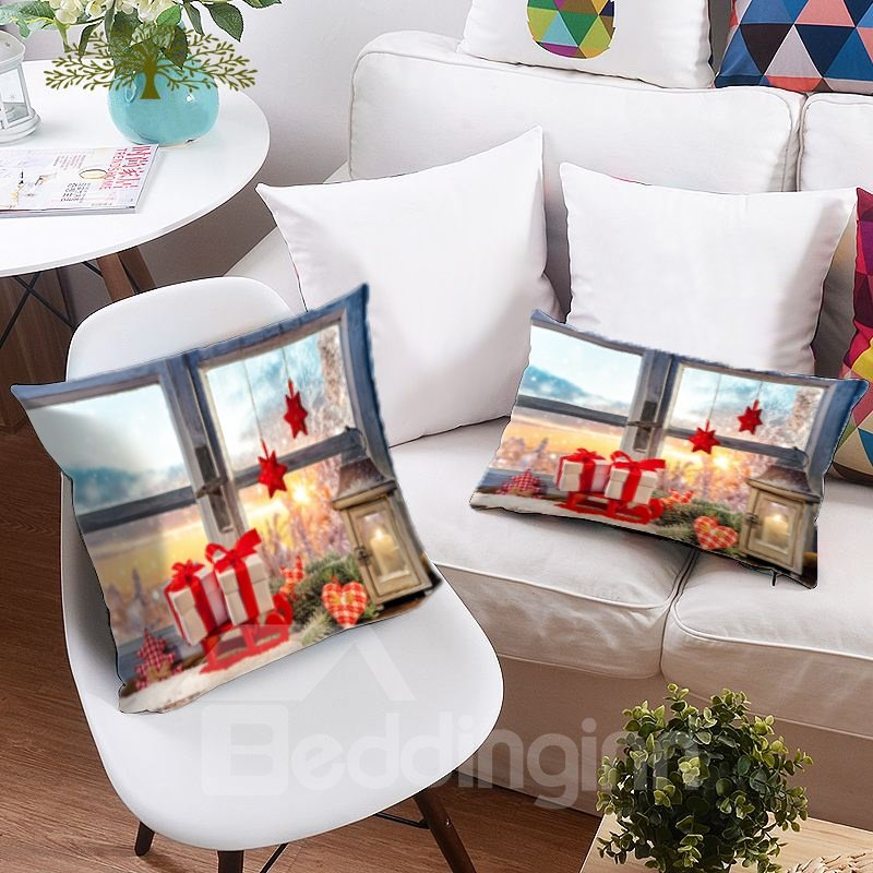 Five-pointed Star and Christmas Ornaments 3D Printing Polyester Throw Pillow