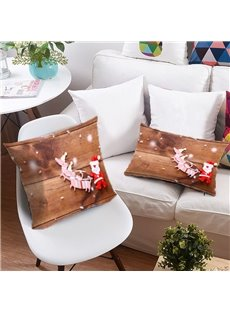 Reindeer Pull Santa's Sleigh 3D Printing Polyester Throw Pillow