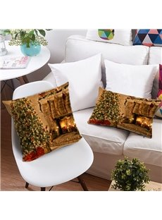 Christmas Tree and Colored Lights Printing 3D Polyester Throw Pillow