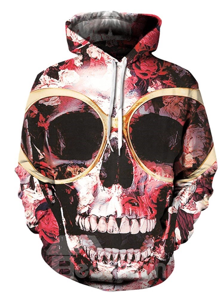 Skull Realistic Cool Design Loose Model Pullover Workout 3D Painted Hoodie