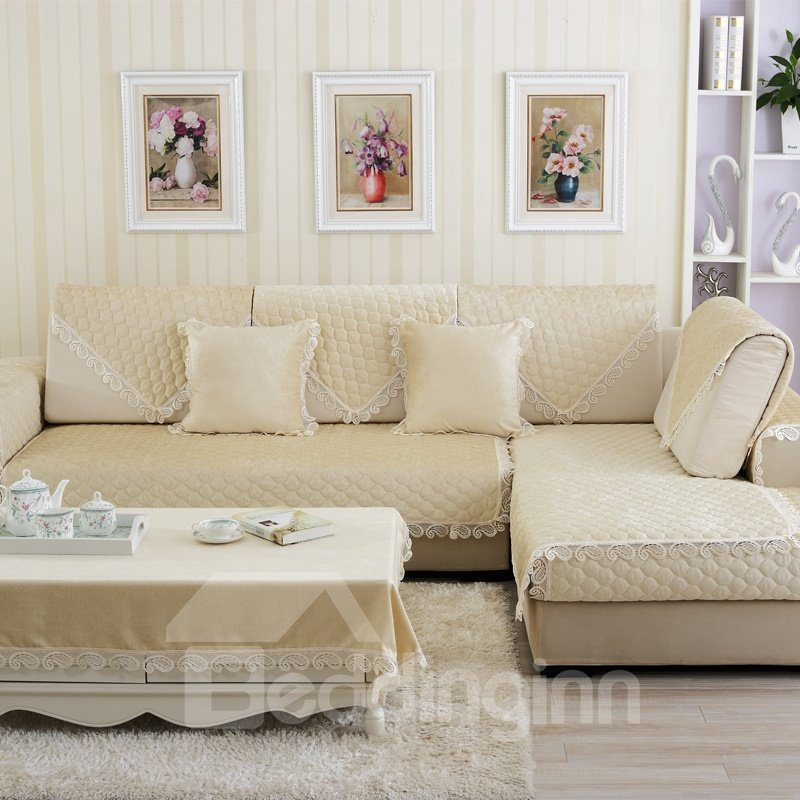Pure Color Polyester Simple Style Wearproof Sofa Covers