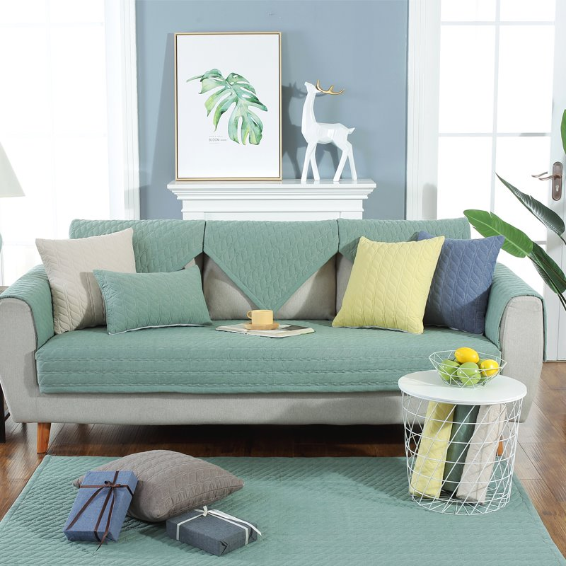 Modern Style Anti-Slip Cotton Pure Color Water Resistant Sofa Covers