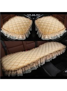 Pure Color Diamond Lattice Pattern Double Lace Decoration Seat Cover