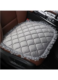 Pure Color Diamond Lattice Pattern Suede Lace Car Seat Protection