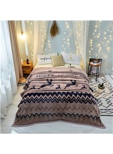 Moose Series-Special Wave Design For Bed Flannel Blanket