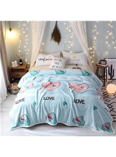 Bright Color Heart Pattern Super Soft Flannel Blanket for Bed