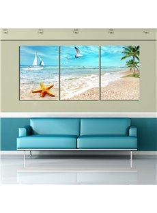 11.8*17.7in*3 Pieces Starfish And Sea Gull Waterproof and Eco-friendly Hanging Canvas Wall Prints