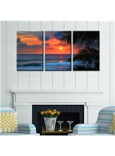 Twilight Scene Waterproof and Eco-friendly 11.8*17.7in*3 Pieces Hanging Canvas Wall Prints