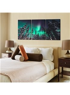 Aurora And Forest Waterproof and Eco-friendly 11.8*17.7in*3 Pieces Hanging Canvas Wall Prints