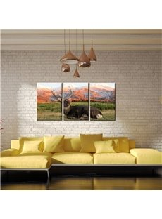 Classic Elk Waterproof and Eco-friendly 11.8*17.7in*3 Pieces Hanging Canvas Wall Prints