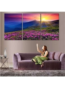 Waterproof and Eco-friendly 11.8*17.7in*3 Pieces Flower Sea Hanging Canvas Wall Prints