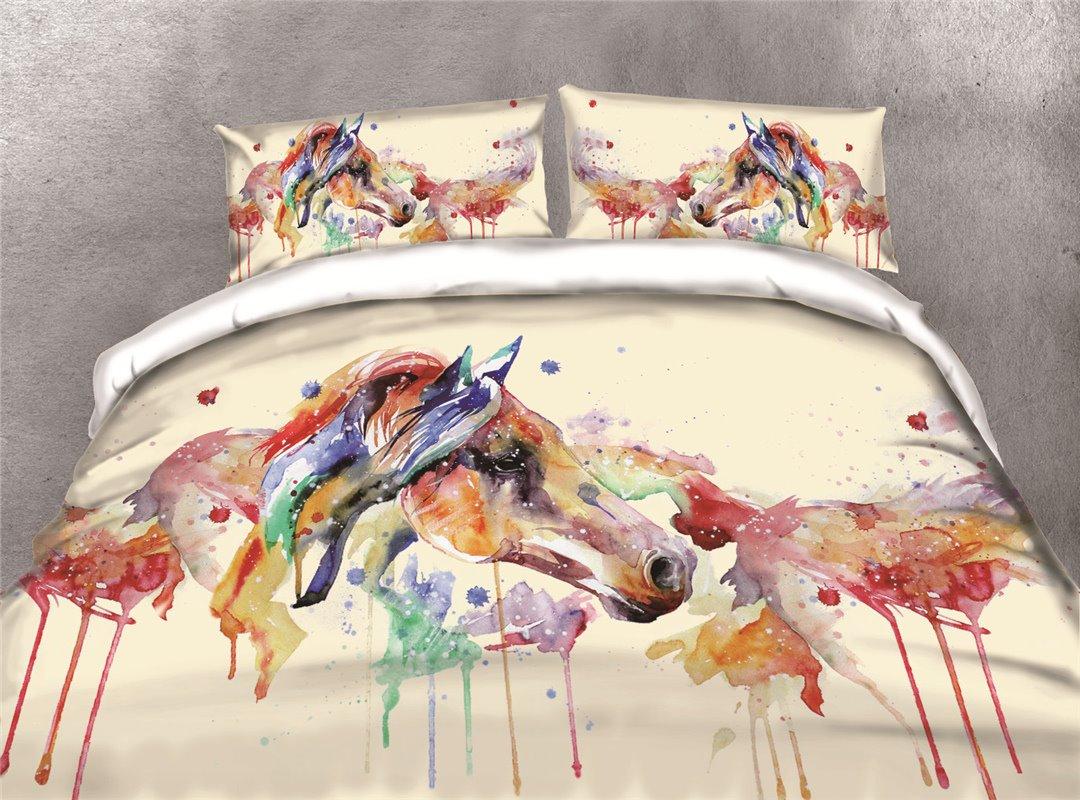Watercolor Horse Head Printing Cotton 4-Piece 3D Bedding Sets/Duvet Covers